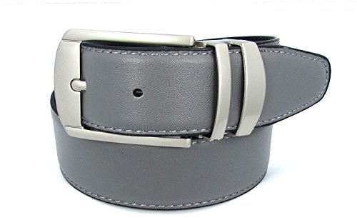 Reversible Bonded Leather Belt 35mm (34, Grey) (35 Mm Bridle)