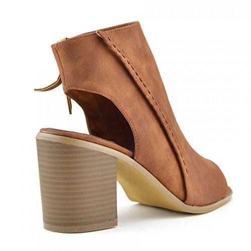 Womens Damen Cut Out Stiefel Block Heel Open-Back-Knöchel-Reißverschluss-Neue Schuhe Tan-Open Toe