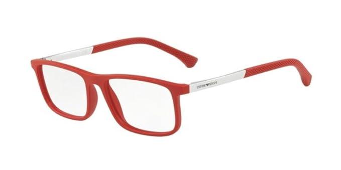 Emporio Armani 0EA3125, Monturas de Gafas para Hombre, Red Rubber, 55
