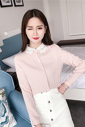 Blusa de manga larga de las mujeres encaje solapa Pink M
