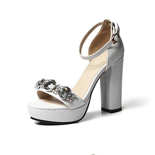W&LM Sra Tacones altos sandalias Piedras de Strass Tacones altos Dedo del pie sandalias piel genuina zapato zapatos casuales White