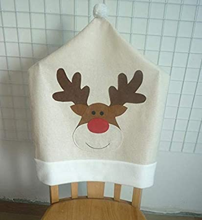 Maslin 4PC Deer Hat Chair Covers Christmas Decor Dinner Chair Xmas Cap Sets Forros para Sillas
