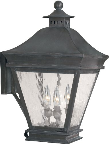 Elk Lighting Landings 3-light Water Glass Outdoor Wall Lantern, Charcoal