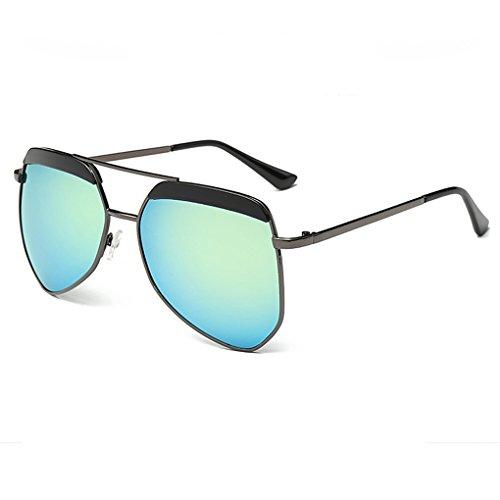 Unisexe Vintage Hommes Aviator Miroir Frame Métal Retro QHGstore Femmes Noir Lunettes Gold Sunglasses Objectif HwdqxF