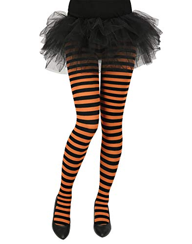 Striped Leggings For Halloween (HDE Women's Striped Tights Opaque Microfiber Stockings Nylon Footed)