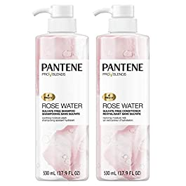 Pantene, Shampoo and Sulfate Free Conditioner Kit, Paraben and Dye Free, Pro-V Blends, Soothing Rose Water, 17.9 fl oz…