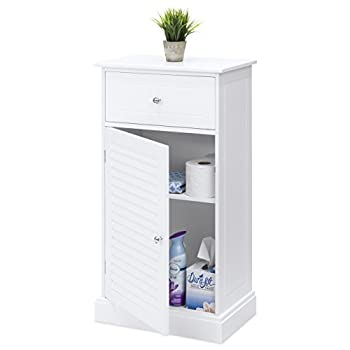 Best Choice Products Bathroom Floor Cabinet w/2 Shelves & Drawer Storage Compartment - White