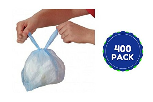 Baby Diaper Disposal Bags Handle Tie Close Sacks Seals in Wetness and Bacteria W Fresh Baby Powder Super Value Pack 400 Ct by Teeny Toe