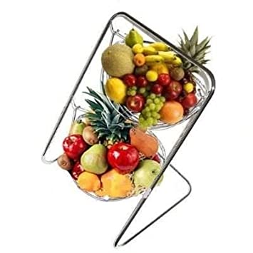 2 Tier Stainless Steel Chromed Double Hammock Hanging Fruit Bowl Vegetable  Basket With Stand