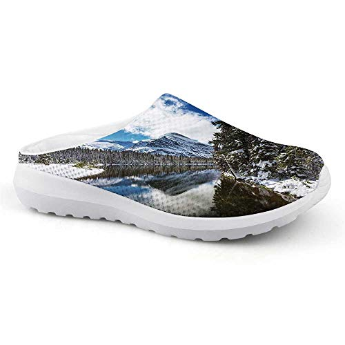 Winter Comfortable Summer Mesh Sandals,Tranquil View of Glacier National Park in Montana Water Reflection Quiet Peaceful Decorative for Women,US Size12
