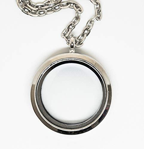 BRCbeads Silver Plated 30mm Round Glass Crystal Memory Living Floating Charms Locket Necklace+24 inch with Extension Chain and Losber Clasp 1pcs per Bag Best DIY Jewelry Accessories for $<!--$7.99-->