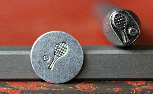 SUPPLY GUY 7mm and 8mm Single Metal Punch Design Stamp: Active & Sports, Made in USA (Not a Set) (TENNIS RACKET SG375-74)