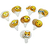 Popculta 24Pcs Cute New Emoji Cupcake Topper Cake Decoration Wechat Emoticon (Pack of 24)