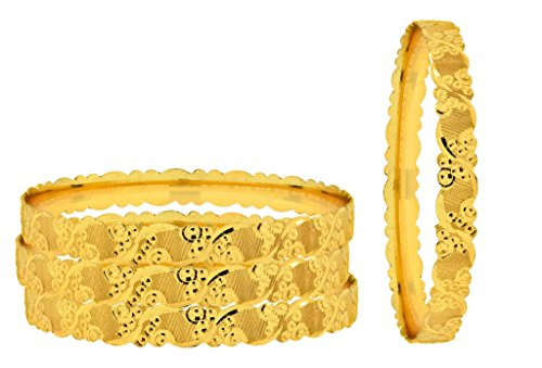 (The Jewelbox Just Like Real 22K Gold Plated Kada Bangle Set of 4 for Women )
