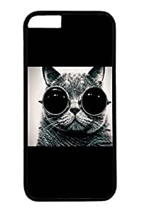 Cat Wearing Sunglasses Slim Hard Cover for iPhone 6 Plus Case ( 5.5 inch ) PC Black Cases