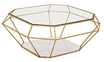 Casa Padrino Luxury Art Deco Coffee Table Glass/gold   Glass Table   Luxury