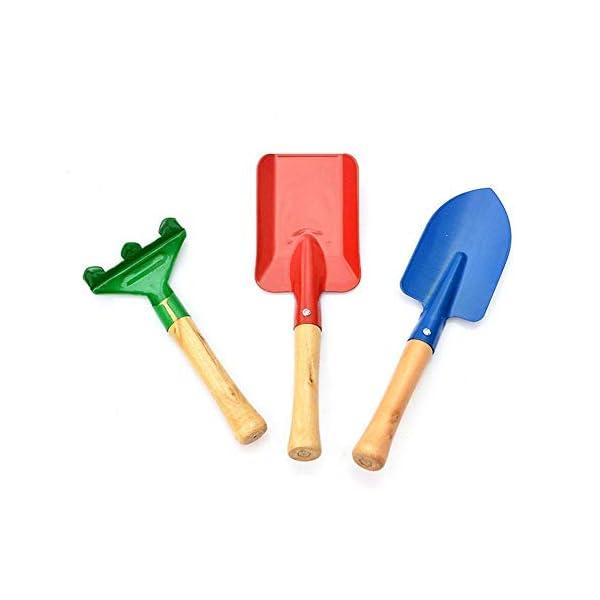 Depory - Set di 3 attrezzi da giardino colorati, pala per bambini 1 spesavip