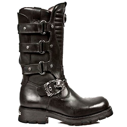 New Rock Black Leather Boots with Straps and a Skull Buckle Strap and Ribbed Tounge BJRiJzNgT