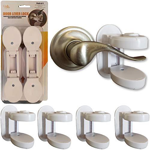 Baby Proofing Door Lever Locks – (Pack of 4) | Door Handle Child Safety Lock | Safety Door Locks for Kids