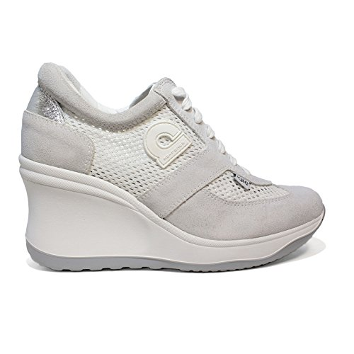 rucoline Agile Sneaker White Pierced Woman with high Wedge Article 1800 A  Soft White Chambers New 612787750e6