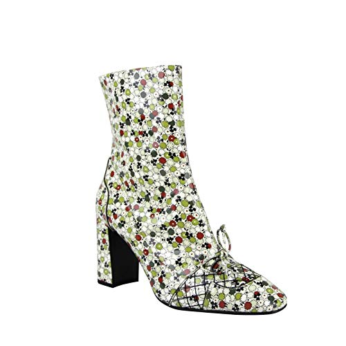 Bottega Veneta Floral Green/Red Leather Boots with Zipper 430535 8071 (G 39.5 / US 9.5)