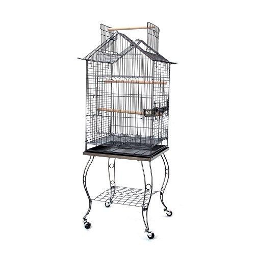Open Roof Parrot Lovebird Cockatiel Cockatiels Parakeets Bird Cage with Stand (Black)