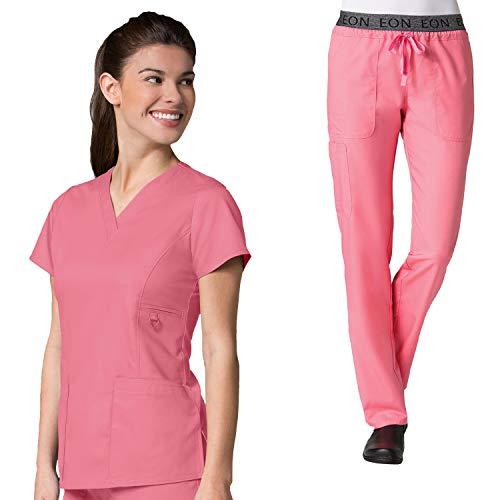 tive V-Neck Pocket Scrub Top & Embroidered Logo Scrub Pant Set ()