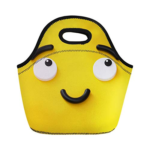 Semtomn Lunch Tote Bag 3D Render Cute Emotional Cartoon Face Shy Smiley Kid Reusable Neoprene Insulated Thermal Outdoor Picnic Lunchbox for Men Women