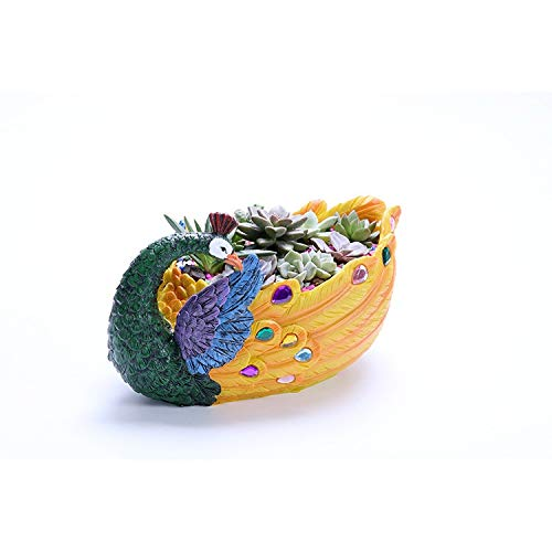 Large Peacock Resin Fleshy Flower Pot, Personalized Micro Landscape Artificial Flower Pot, Resin Pure Hand Painted Flower Pot, Home Gardening Decoration (Color : Yellow, Size : 27x16cm)