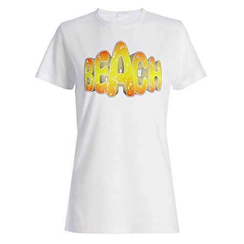 Neue Sommer Hintergrund Strand Kunst Damen T-shirt i487f