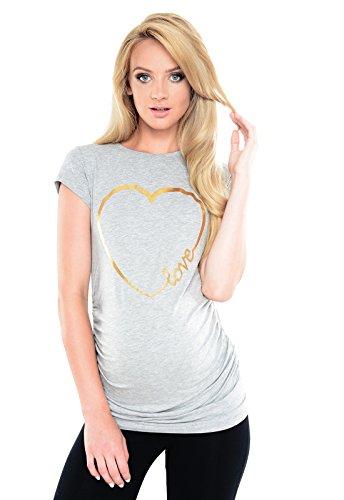 Purpless Maternity Top T-Shirt Tee Pregnant Women Slogan Love Heart Print B2011 (8, Light Gray ()