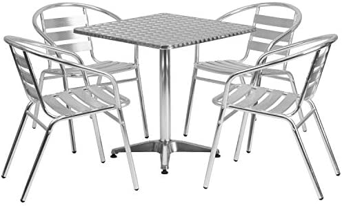 Flash Furniture 27.5'' Square Aluminum Indoor-Outdoor Table Set with 4 Slat Back Chairs