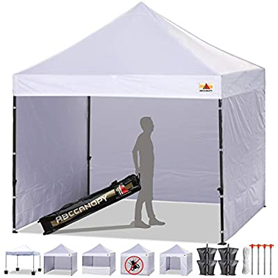 ABCCANOPY Canopy Tent Popup Canopy 10x10 Pop Up Canopies Commercial Tents Market stall with 6 Removable Sidewalls and Roller Bag Bonus 4 Weight Bags and 10ft Screen Netting and Half Wall