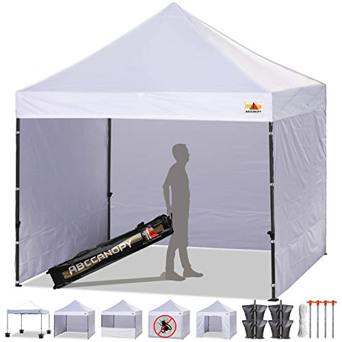 ABCCANOPY Tents Canopy Tent 10 x 10 Pop Up Canopies Commercial Tents Market stall with 4 Removable Sidewalls and Roller Bag Bonus 4 Weight Bags and 10ft Screen Netting and Half Wall,White