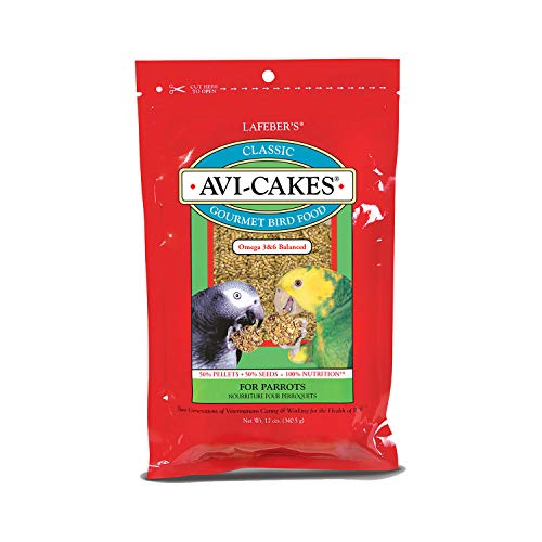 LAFEBER'S Classic Avi-Cakes Pet Bird Food, Made with Non-GMO and Human-Grade Ingredients, for Parrots, 12 ()