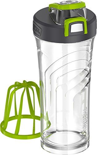 THERMOS Shaker Bottle with Integrated Stationary Mixer, 24-Ounce, Clear/Green