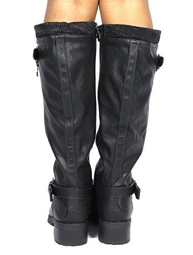 Riding High Boots PAIRS Wide Pu Women's Knee DREAM Black Calf wide calf wItUqxTp