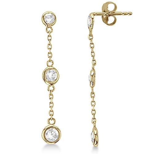 Diamond Drop Earrings Bezel-Set Dangles 14k Yellow Gold - Set Dangle Bezel Earrings Diamond