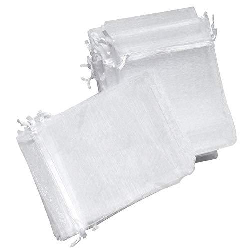 7x9cm Pochettes Dessinables Et Cadeau Bijoux D'emballage Organza Blancs En De Le 100pcs Blanc Mariage Noël Zexa Sac Petits Favorisent Sacs qITUUB