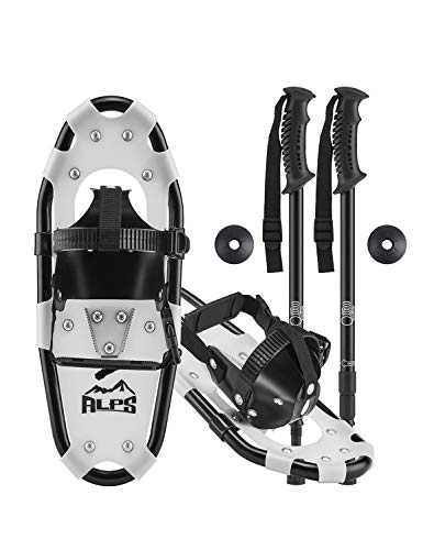 ALPS Light Weight Snowshoes Set for kids, Boys & Girls +Trekking Poles,Carrying Tote Bag 14