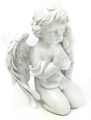 Kneeling Angel in Prayer Figurine for Spiritual, Religious and Christian Home Decor Sculptures Statues As Artistic Inspirational (Cherub Statue)