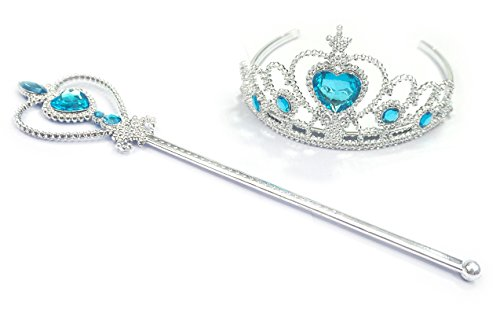 Kuzhi Frozen Crown Tiara and Wand Set – Silver Heart Jewel (Elsa Wand)