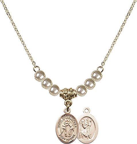18-Inch Hamilton Gold Plated Necklace with 4mm Faux-Pearl Beads and Gold Filled Saint Christopher/Wrestling Charm. by F A Dumont