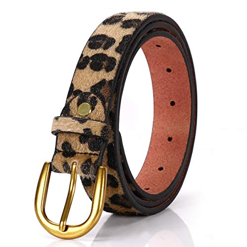Whippy Women Casual Leather Belt for Jeans, 1.2 Inch Wide with Golden Buckle (Suit Pant Size 42