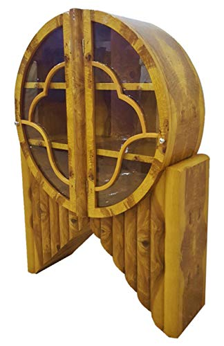 Sultaneantiques - Art Deco Inspired Olivewood Bookcase Display & Oval Cabinets