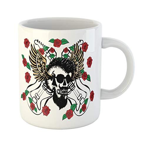- Semtomn Funny Coffee Mug Pink Rock Punk Skull Wild Rose Guitar Roll Adventure 11 Oz Ceramic Coffee Mugs Tea Cup Best Gift Or Souvenir