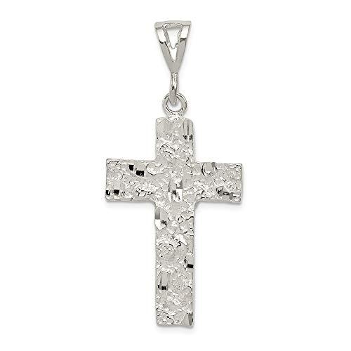 - Mia Diamonds 925 Sterling Silver Solid Nugget Cross Pendant (46mm x 22mm)