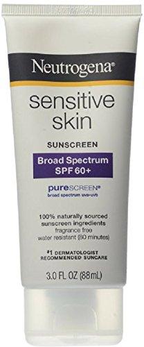 Neutrogena Sensitive Skin Sunscreen Lotion with Broad Spectrum SPF 60+, Water-Resistant, Hypoallergenic & Oil-Free Gentle Sunscreen Formula, 3 fl. (Titanium Sunscreen)