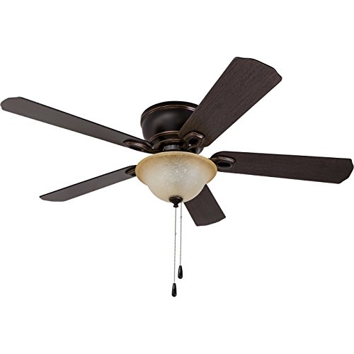 Prominence Home 80030-01 Woodmere Low-Profile Hugger Ceiling Fan with LED Bowl, 52 inches, Bronze by Prominence Home