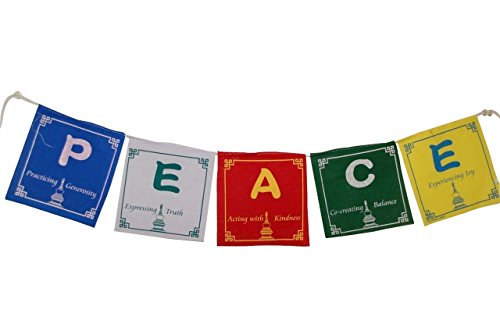 (Hands Of Tibet Peace Prayer Flags in English 5 Flags Set 5x5 Inches)